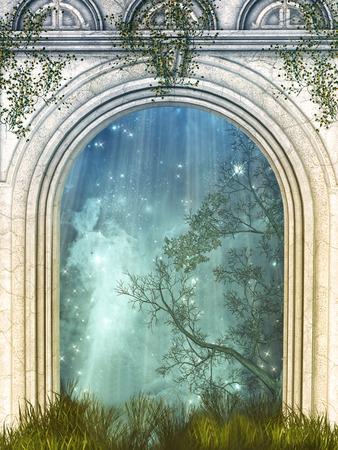 fantasia: Porta mágica na floresta com estrelas