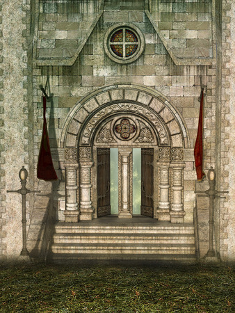 palaces: castle door with big gate and garden Stock Photo