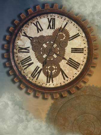 Fantasie uurwerk in de hemel met oude stijl