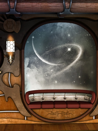 whit: steampunk scene whit galaxy outside and sparkles