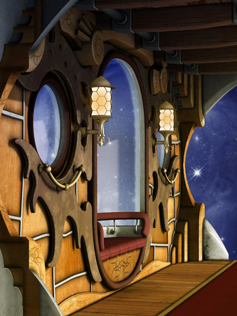 time machine: steampunk scene whit galaxy outside and sparkles