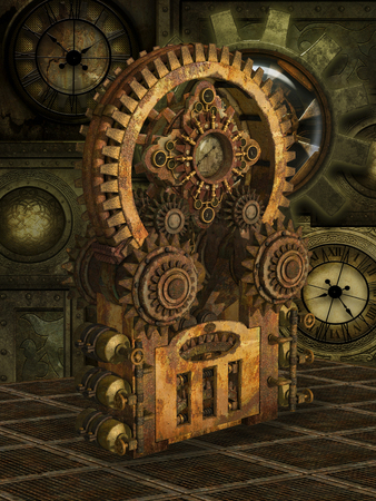 mechanism: Fantasy scene with steam punk style in gold Stock Photo