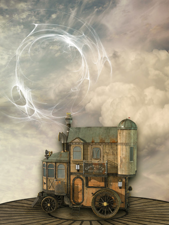 new technology: Fantasy scene with steam punk style in the sky