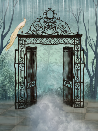 Fantasy landscape with big gate and forest Stockfoto