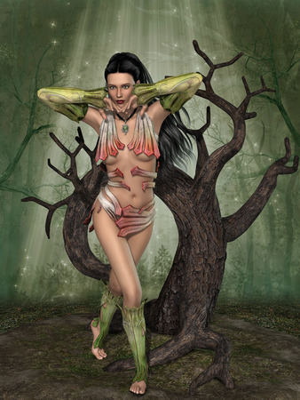 dark elf: fairy in the forest with old tree