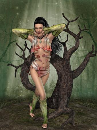 animales de la selva: hada en el bosque con árboles viejos