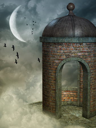 brick road: Fantasy landscape with tower and birds