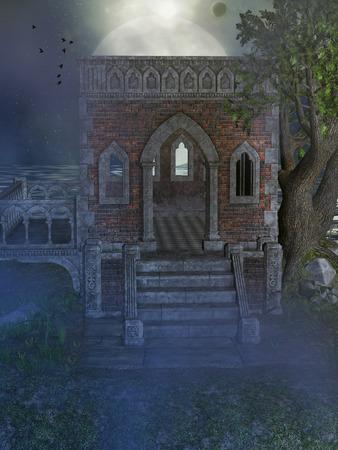 ruin: Fantasy landscape with old structure near the sea