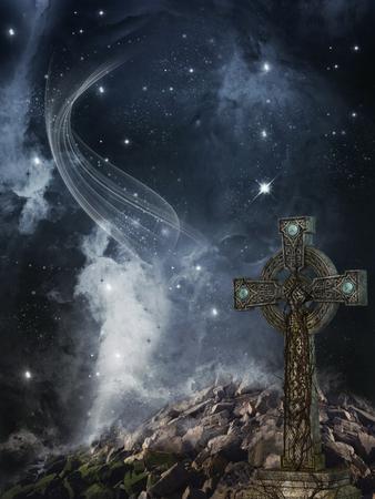 dark landscape: dark landscape in the mountain with cross