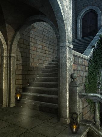 Fondo de la fantasía en una estructura antigua con la lámpara
