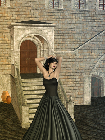 brick road: fantasy background with old structure and woman