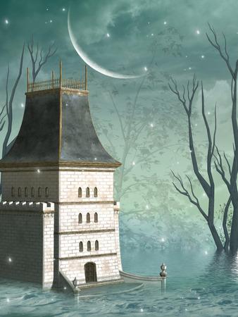 castello medievale: sfondo di fantasia nel lago con vecchia struttura