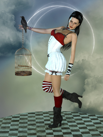 freedom woman: Fantasy woman in the sky with cage and bird