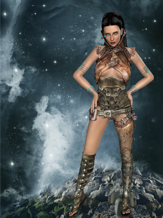 robot girl: futuristic woman portrait with fantasy dress in brown