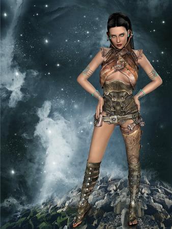 futuristic woman: futuristic woman portrait with fantasy dress in brown