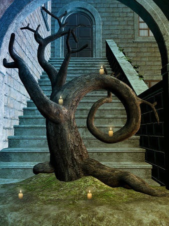 brick road: Fantasy background with old structure and tree
