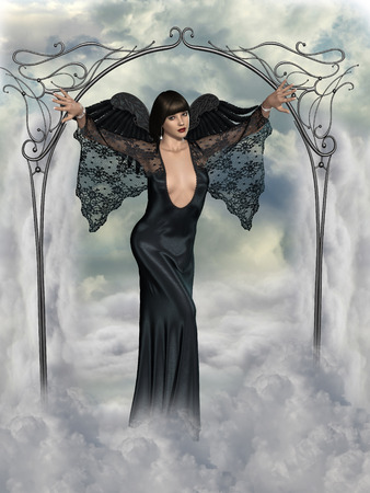 dark angel: fantasy landscape with dark angel in the heaven Stock Photo