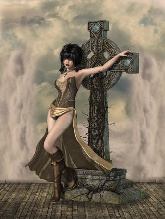dark landscape: dark landscape in a fantasy background with cross