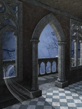 castello medievale: sfondo di fantasia in una foresta scura con vecchia struttura