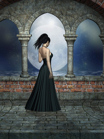 fantasy woman: Fantasy landscape with woman in a castle