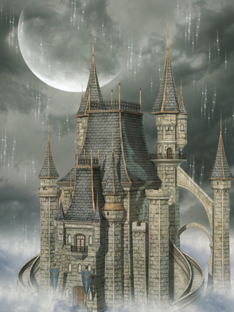 fantasy: fantasy background with castle in the sky