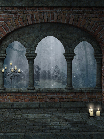 castle rock: Fantasy landscape with old structure and candle Stock Photo