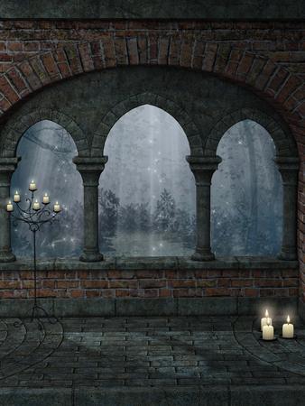fantasia: Paisagem da fantasia com estrutura antiga e vela