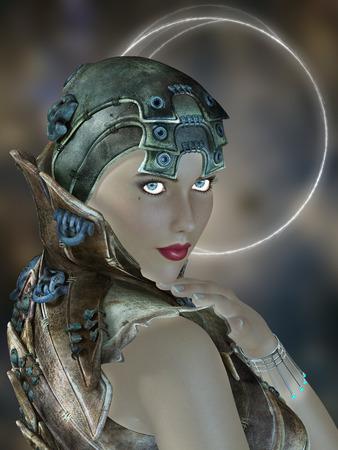 futuristic woman: futuristic woman portrait with fantasy dress in blue Stock Photo