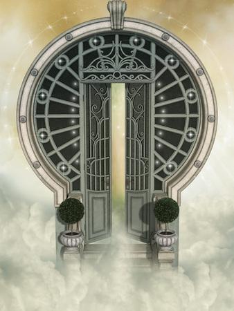 puertas de madera: Paisaje de fantasía en el cielo con gran puerta