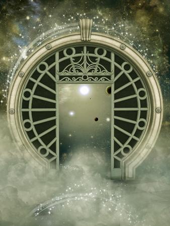 Fantasie landschap in de melkweg met grote portal Stockfoto