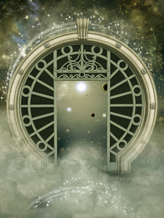 Fantasy landscape in the galaxy with big portal