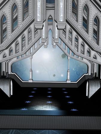Futuristic Room In The Sky With Big Door Stock Photo   56523405