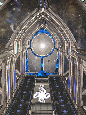 futuristic background: futuristic room in the sky with big door