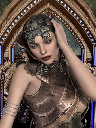 futuristische vrouw in een virtuele ruimte in het blauw