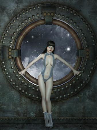 futuristic woman: futuristic woman in a virtual room in blue
