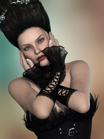 gothic woman: gothic woman with corset and gloves in black