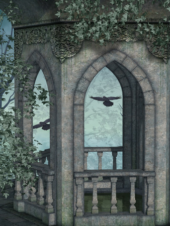 dark forest: Fantasy landscape in the a dark forest