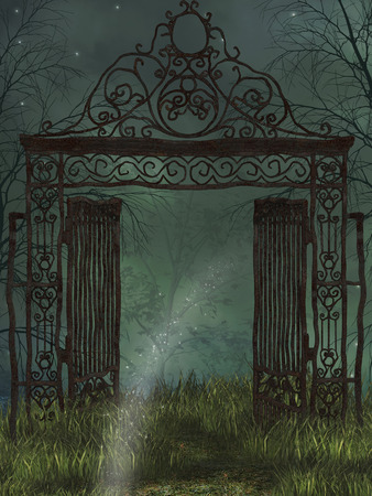 balcony: Fantasy landscape in the a dark forest