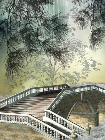 central park: fantasy landscape with bridge in the forest