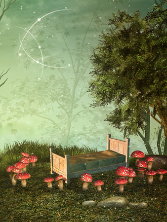fairytale: fairytale background with mushroom in the forest Stock Photo