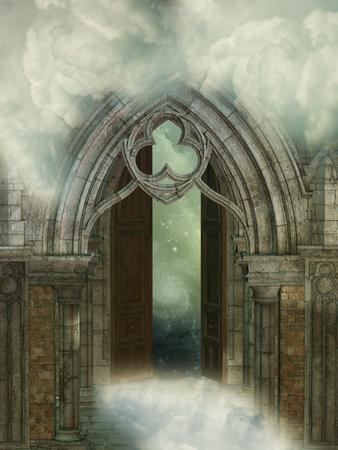 Struktur des Schlosses mit Magie im Himmel Standard-Bild - 65652130