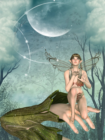 fairyland: Little Fairy in a hand with forest and big moon