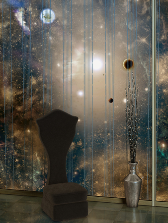 leds: room in the space with planet and leds