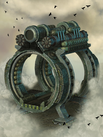 time machine: steampunk machine in the sky with birds 3D rendering