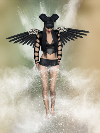 angel 3d: cute black angel 3D rendering with stars
