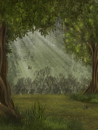 lamp light: fantasy forest with butterfly 3D rendering