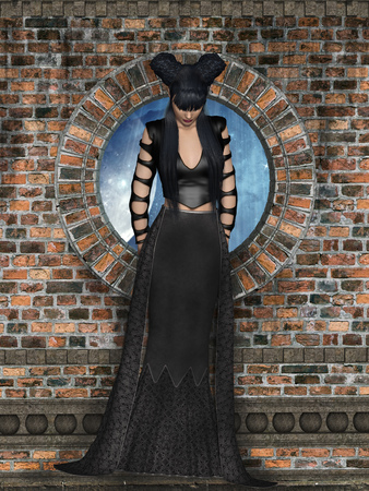3d vampire: gothic woman in a wall 3D rendering