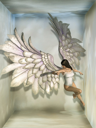 fantasy background with angel in the sky Imagens