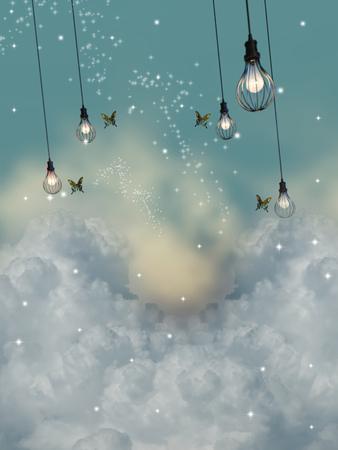 Paesaggio di fantasia nel cielo con farfalla e lampadina