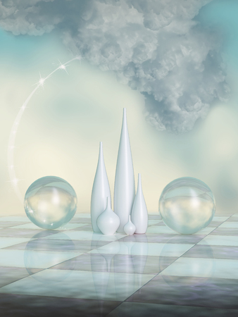 Fantasy scene in the sky with crystal ball Imagens